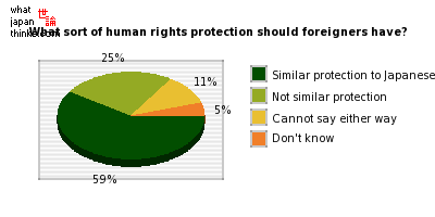 What sort of human rights protection should foreigners have? graph of japanese statistics